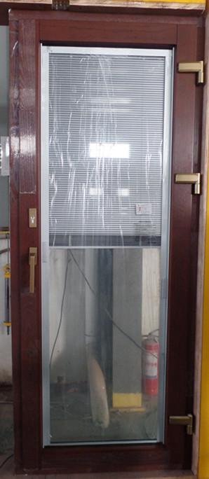 铝包木门窗钢化中空玻璃内置磁控百叶