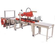 唐山科胜啤酒折盖封箱生产线、纸箱自动折盖封箱捆扎生产线