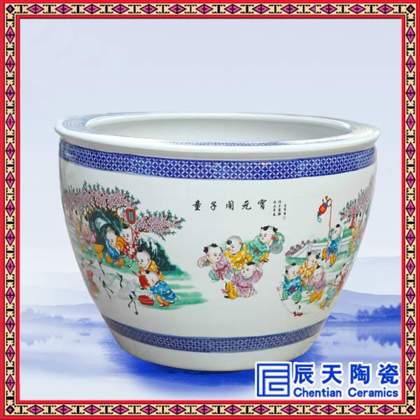 出口外贸花卉盆栽陶瓷小缸批发画面多选装饰缸