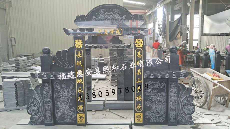 贵州墓碑熙和凤山厂家批发芝麻黑三碑四柱豪华土葬碑