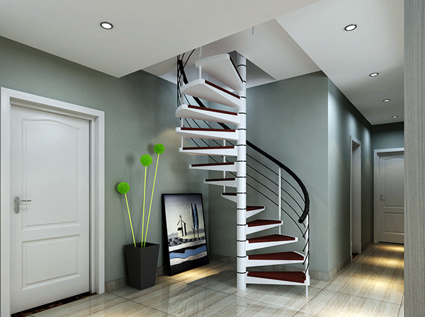 贵阳公司店面单身公寓定制楼梯扶手整体楼梯复试铁艺护栏安装