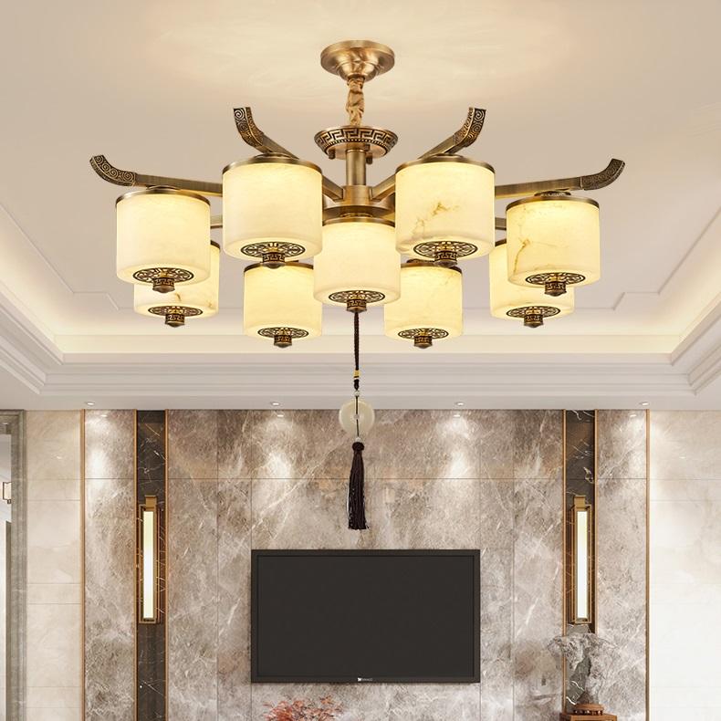中式云石灯 中式全铜吊灯 新中式灯具定做